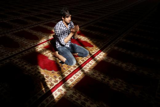 Afghan man prays at a mosque during the holy month of Ramadan in Kabul