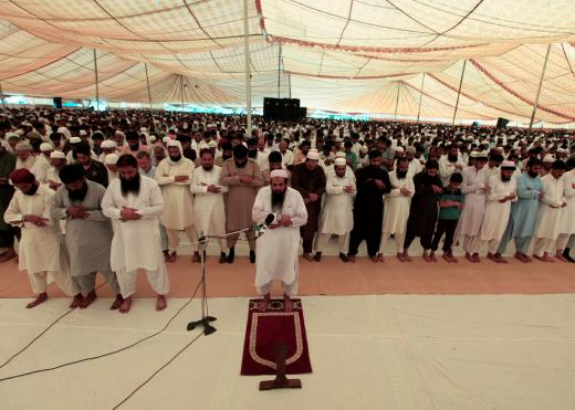 Hafiz Muhammad Saeed, chief of the Jamat-ud-Dawa organisation, leads the first Friday prayers of the holy fasting month of Ramadan in Islamabad